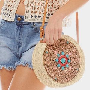 Handcrafted Turquoise Flower Boho Circular Bag